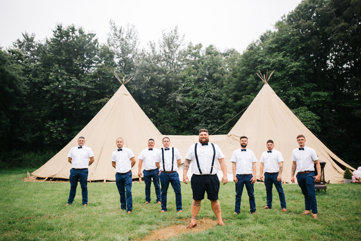 Richard Savage Photography - Home Page - Stouthall Wedding, Carreg Adventures wedding, documentary wedding photographer, documentary, alternative wedding photographer, wedding group shots, groom in shorts, tipi wedding, groomsmen